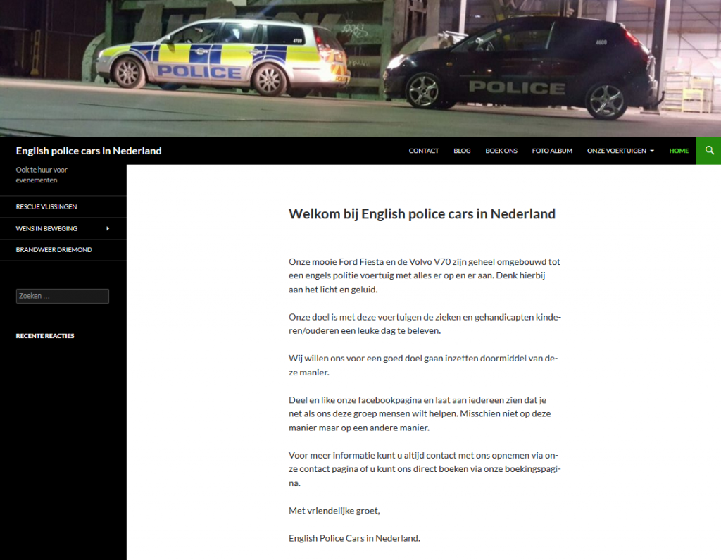 English police cars in Nederland